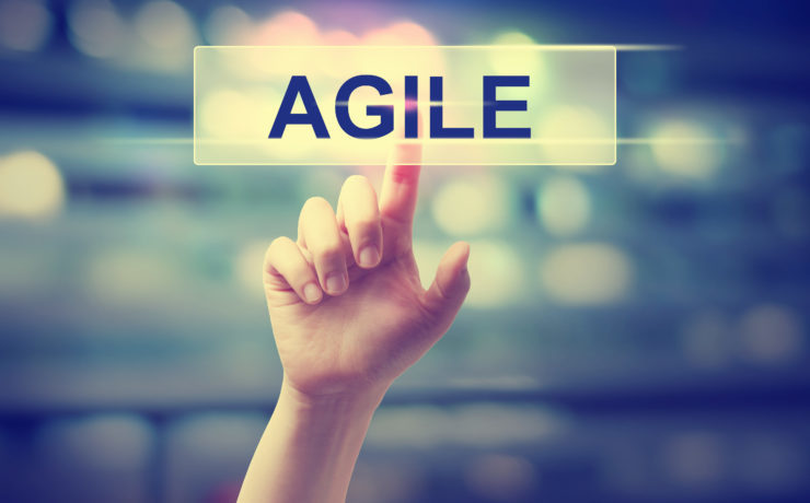 Agile concept with hand